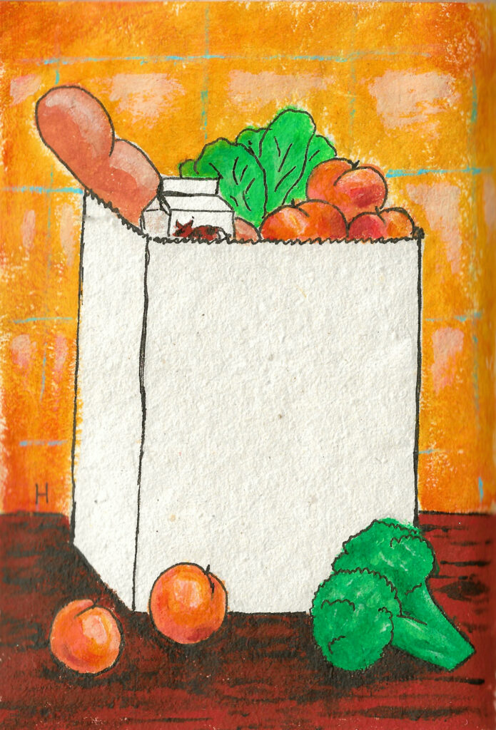 A brown paper grocery bag with peaches, broccoli, bread, milk, and lettuce showing