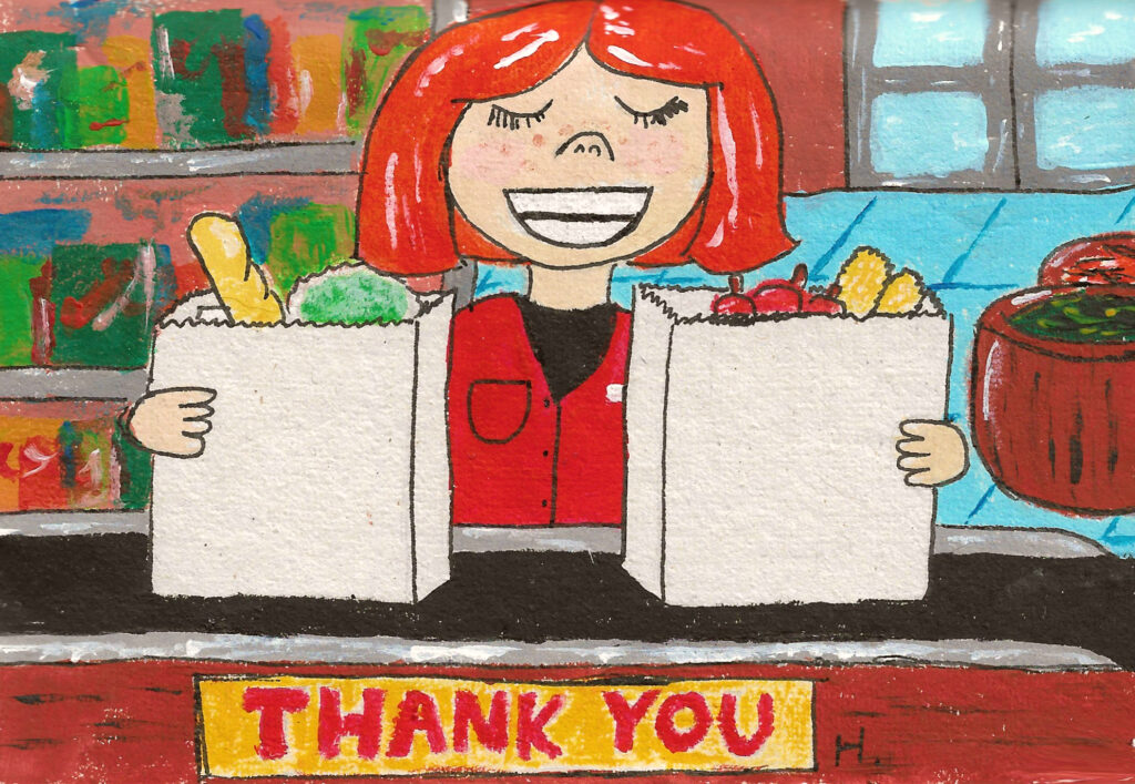 """An old-fashioned grocery store with red-haired worker holding two paper grocery bags, text reading """"thank you"""""""