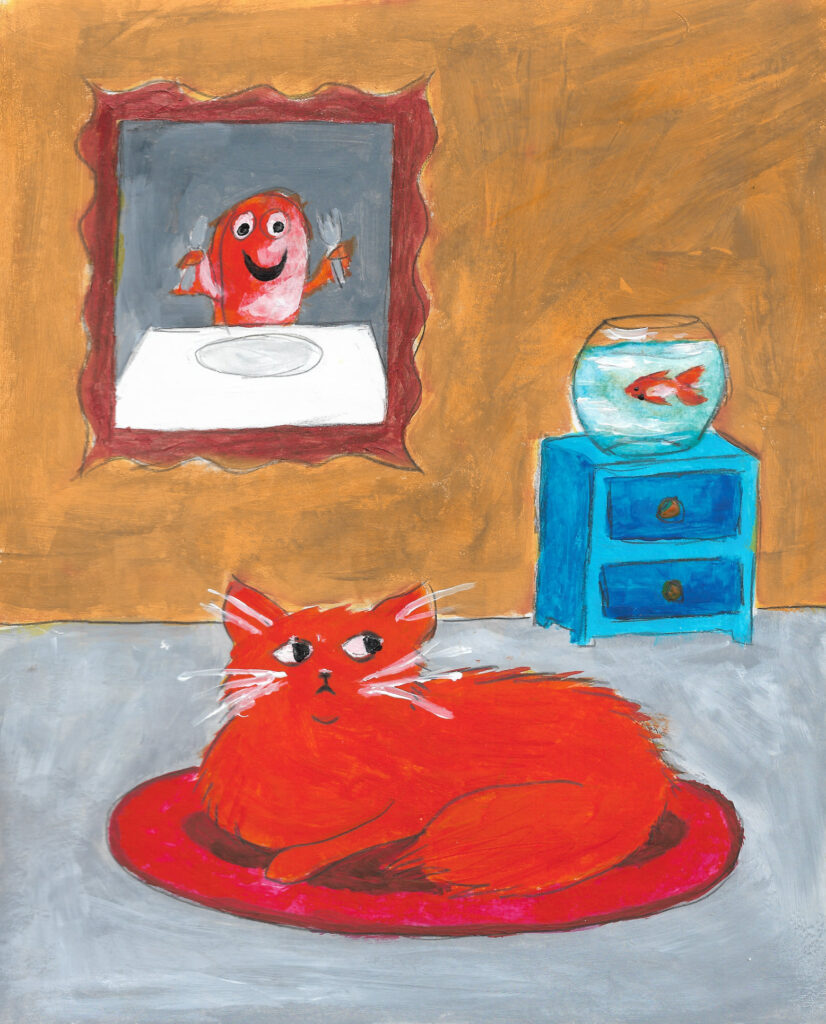 A loose painting of an orange cat looking suspiciously at a goldfish, with a painting of a goldfish ready to eat something on the wall.